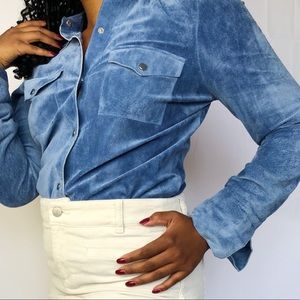 Baby Blue Suede Leather Shirt